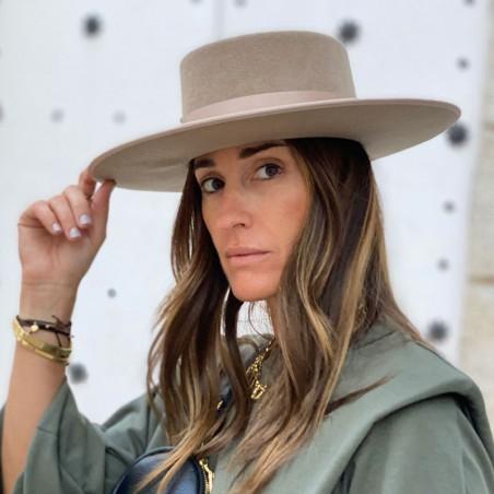 Sombrero Canotier Mujer de Ala Ancha Color Taupe - Sombreros Mujer