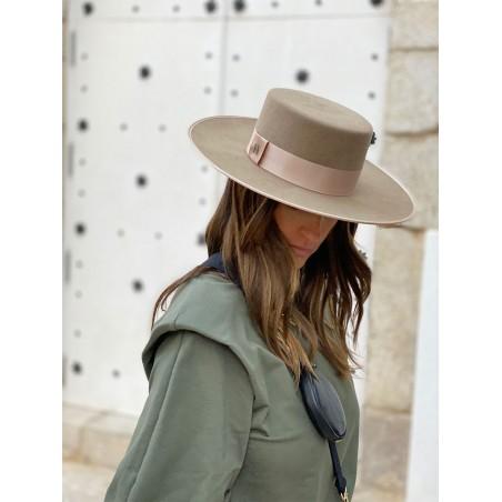 Verona Wide Brim Taupe Canotier - Boater Hats Women's
