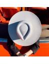 Fedora ala ancha y dura - Sombrero de Fieltro Fedora color gris claro de ala ancha