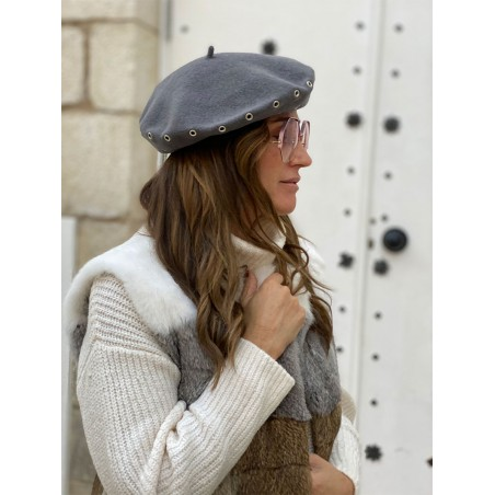 French Beret for Women in colour Grey