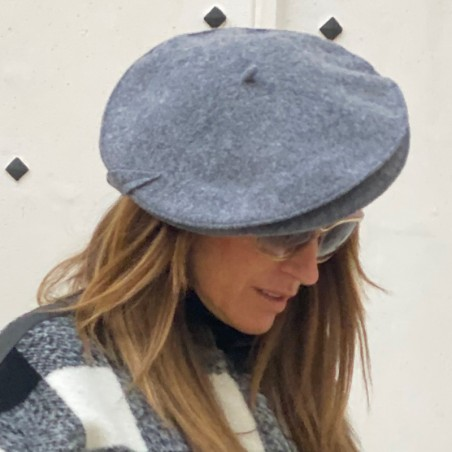 Boina Mujer Estilo Francés Helen Gris Mezcla