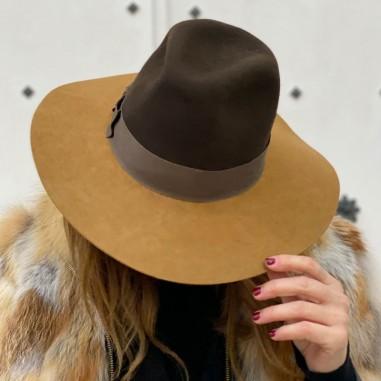 Sombrero Mujer Queen Ala Ancha Marrón-Camel Estilo Pamela