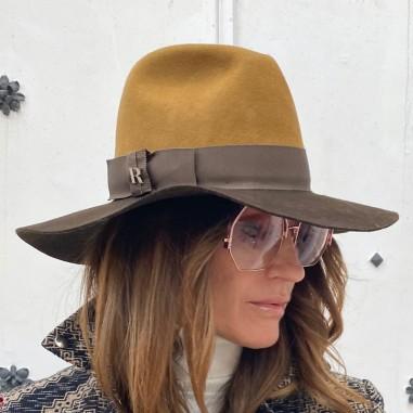 Sombrero Mujer Queen Ala Ancha Camel-Marrón Estilo Pamela