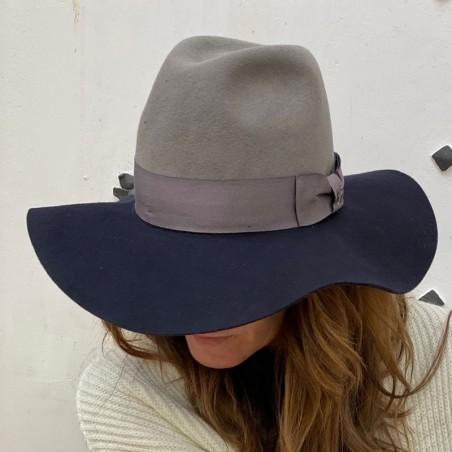 Queen Floppy Hat for Women Grey-Navy