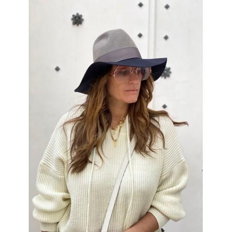 Sombrero Mujer Queen Ala Ancha Gris-Azul Marino Estilo Pamela