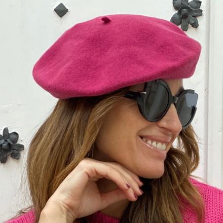 Wool Veronica Pink Beret - Wool Felt