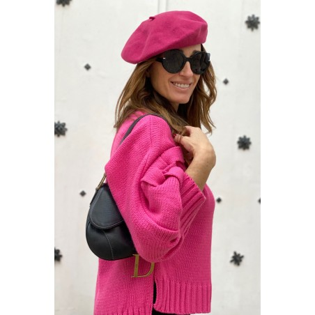 Boina Francesa Mujer de Lana color Rosa - Boinas Mujer Fieltro de lana