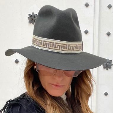Sombrero Mujer Queen Ala Ancha Gris Oscuro Estilo Pamela