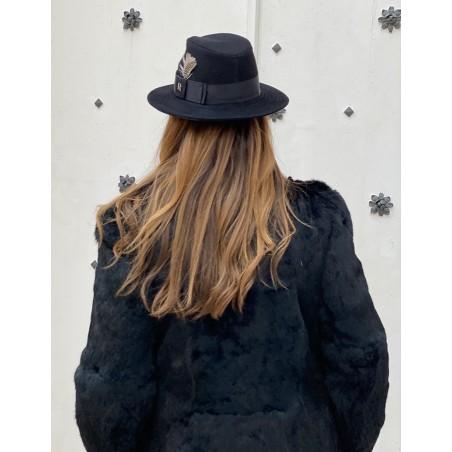 Sombrero Mujer en Fieltro de Lana de Color Negro
