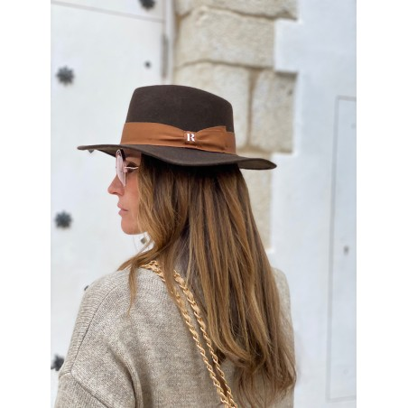 New Orleans Wool Felt Fedora Hat Brown for Women