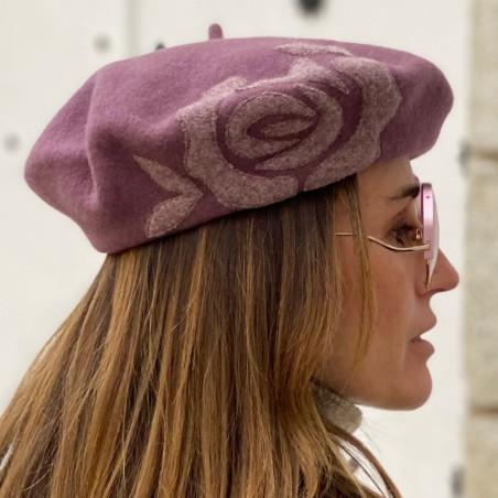 Boina Francesa Mujer en color Malva Estilo Parisino