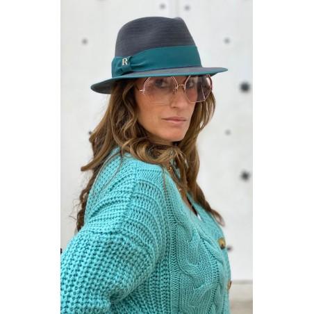 Sombrero Mujer Harlem Gris Oscuro Ala Corta