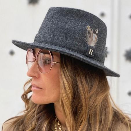 Sombrero Fieltro de Lana Mujer Craig Gris Oscuro Ala Intermedia