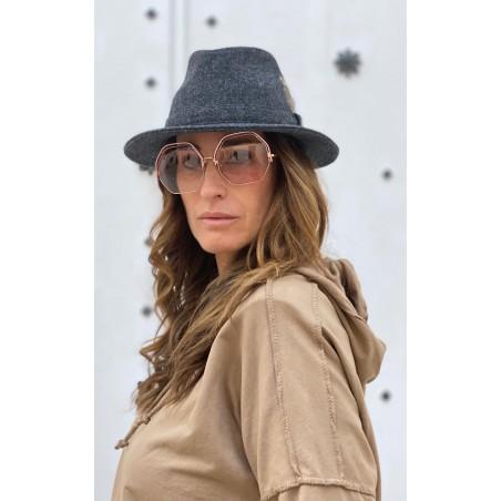 Craig Wool Felt Hat Dark Grey for Women Medium Brim