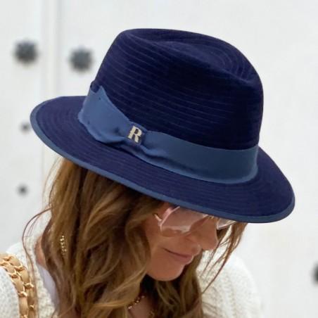 Sombrero Mujer Harlem Azul Marino Ala Corta