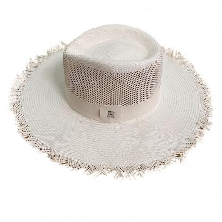 Santorini Straw Hat White - Frayed Wide-Brimmed - Fedora hat for men