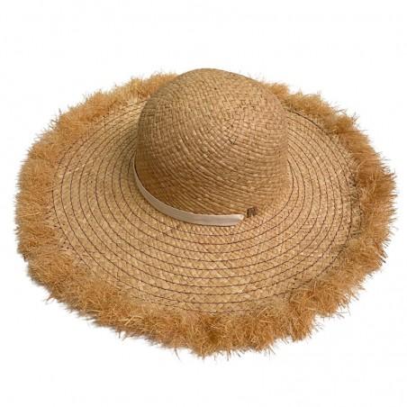 Pamela Straw Hat Natural - Frayed Wide-Brimmed - Fedora hat for women