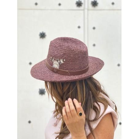 Sombrero Playa Mujer ideal Verano - 100% Paja Natural cosida y hecho en España en color Chocolate