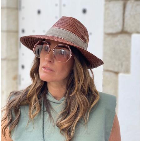 Sombrero Playa Mujer ideal Verano - 100% Paja Natural cosida y hecho en España en color Marrón
