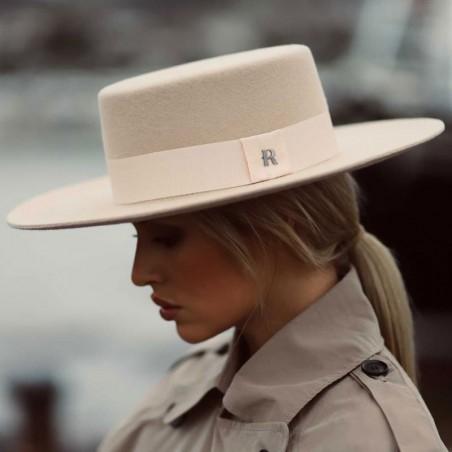 Felt Hat large brim Cream - Canotier Felt Hat Cream