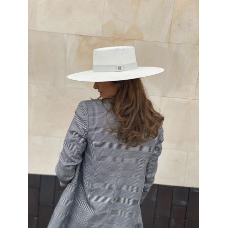Vegetable Fiber Boater Hat Wide-Brimmed for Women Atena - Women's Hats