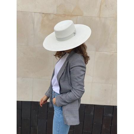 Sombrero Canotier de Fibras Naturales Mujer Atena - Boater Ala Ancha - Sombreros de Mujer