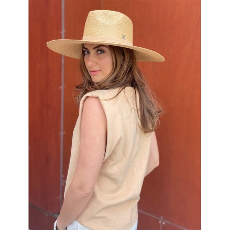 Sombrero Panamá Ala Ancha Corfu color Miel - Sombrero Ala Amplia Mujer