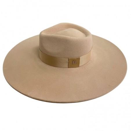 Sombrero de Novia Ala Ancha y Rígida Colorado color Beige - Fieltro de Lana