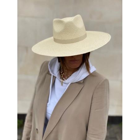 Sombrero Panamá Ala Ancha Corfu Color Natural - Sombrero Ala Amplia Mujer