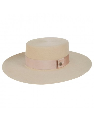 Florence Bridal Hat Wide Brim Beige - Canotier Felt Hat Cream -  Wedding Hats - Raceu Hats