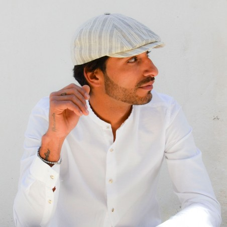 Rocky Cap Cream Striped Style Peaky Blinders