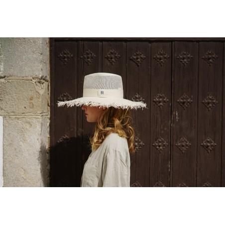 Santorini Straw Hat White - Frayed Wide-Brimmed - Fedora for Women