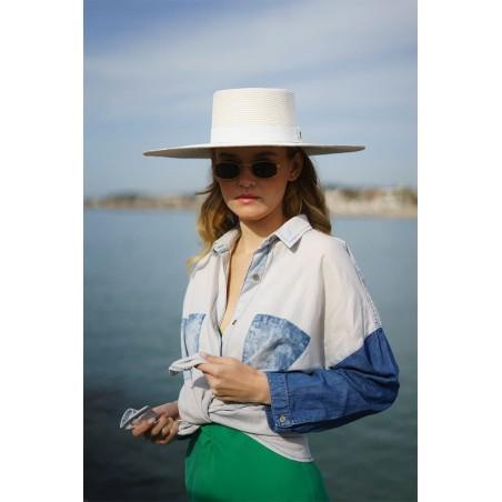 Vegetable Fiber Boater Hat Wide-Brimmed for Women Atena - Women's Hats