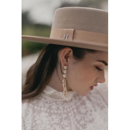 Sombrero de Novia Canotier Ala Ancha Verona Taupe - Sombreros Mujer Especial Bodas
