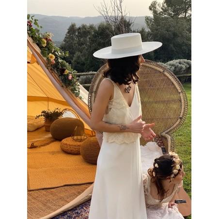 Sombrero de Novia Canotier Ala Ancha color Blanco - Atena - Boater Ala Ancha - Sombreros de Mujer Especial Bodas