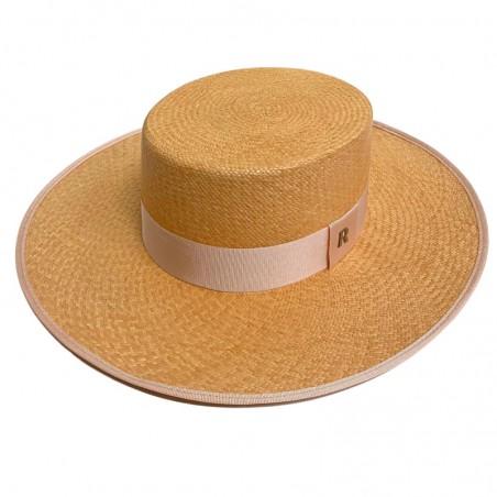 Sombrero de Novia Canotier Panamá Padua color Miel - Sombreros Panamá Estilo Canotier