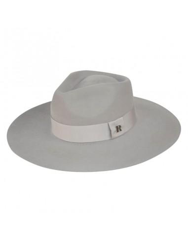 Sombrero Invitada Boda Fedora Ala Ancha Luna en color Gris Claro