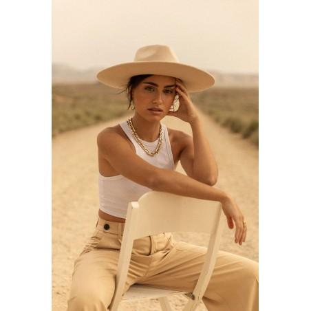 Sombrero Mujer Ala Ancha Colorado en Color Beige - Ala Rígida - Fieltro de Lana