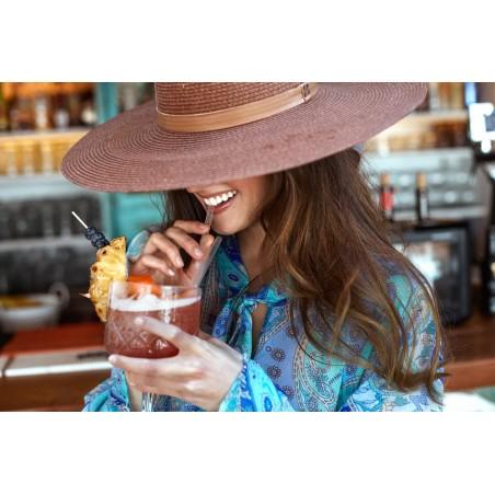 Sombrero Verano Mujer Color Café - Estilo Fedora Ala muy Ancha