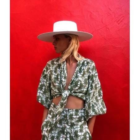 Sombrero Canotier hecho en Fibra Vegetal - Especial Invitada a una Boda - Sombreros de Mujer Especial Bodas