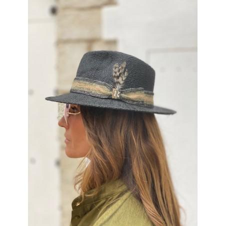 Sombrero estilo Fedora en color Negro hecho en paja natural