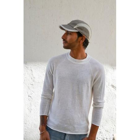 Baseball Cap for Men Made in 100% Linen, colour Brown