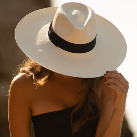 Sombrero Panamá Ala Ancha Eva Blanco - Sombreros Paja Toquilla