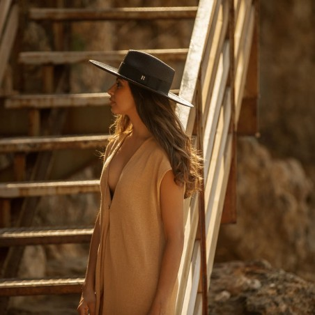 Sombrero Panamá Ala Ancha Eva - Estilo Pamela - Color Negro