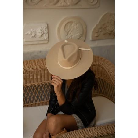 Evie Cream Wide Brim Fedora by Raceu Hats - Fedora Hats for Women