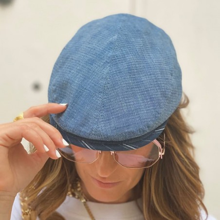 Peaky Blinders Cap Blue Jeans Frank for Women - Raceu Hats