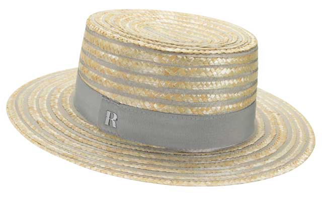 The Boater hat by Raceu Atelier 100% Straw and cotton, trim 100% cotton