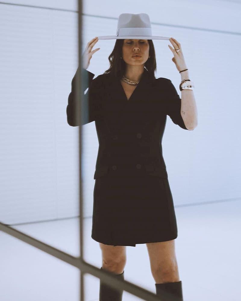 Wool Felt Hat - Light Grey Wide Brim - Fedora Style Unisex
