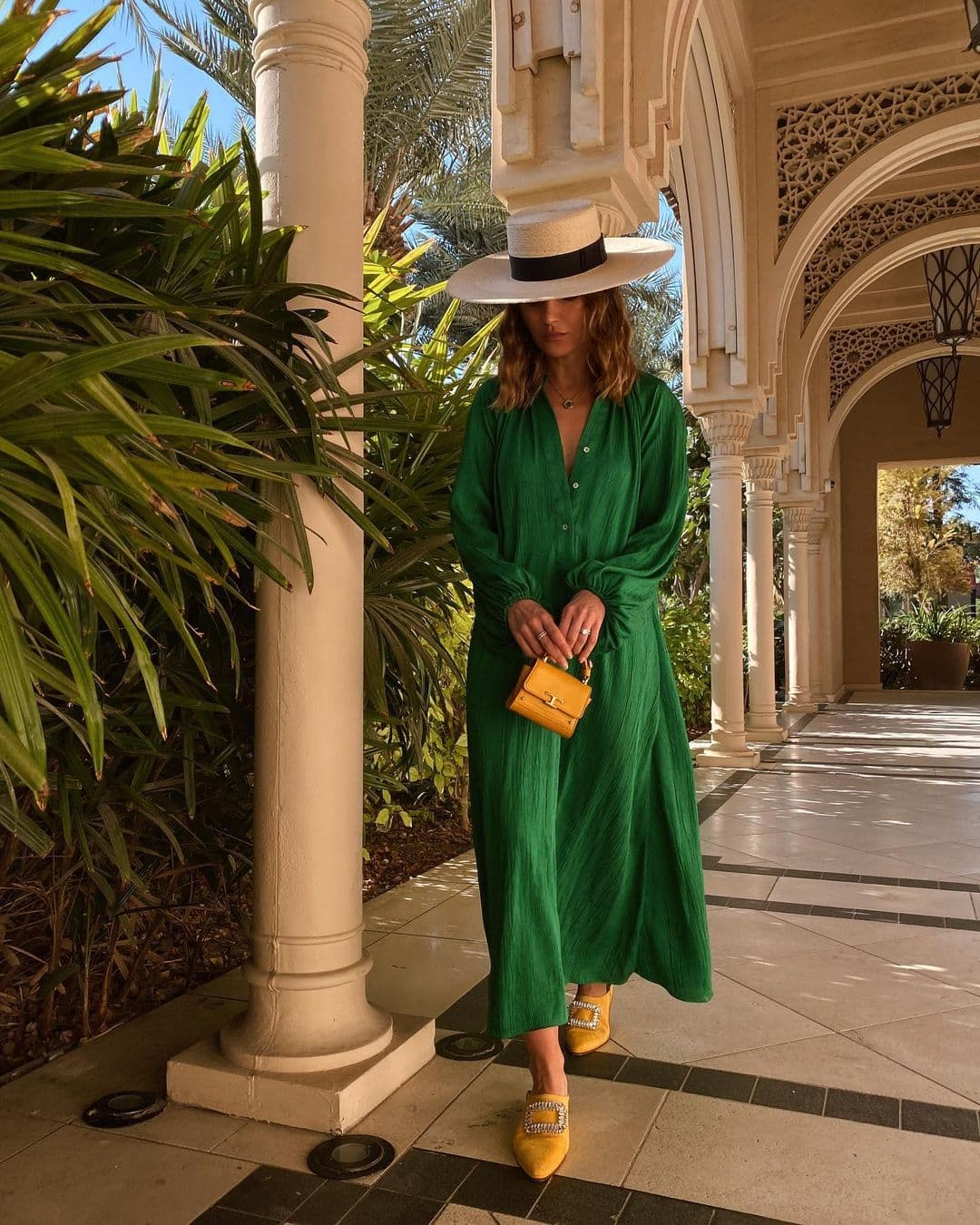 Straw Boater Hat Wedding Guest Look