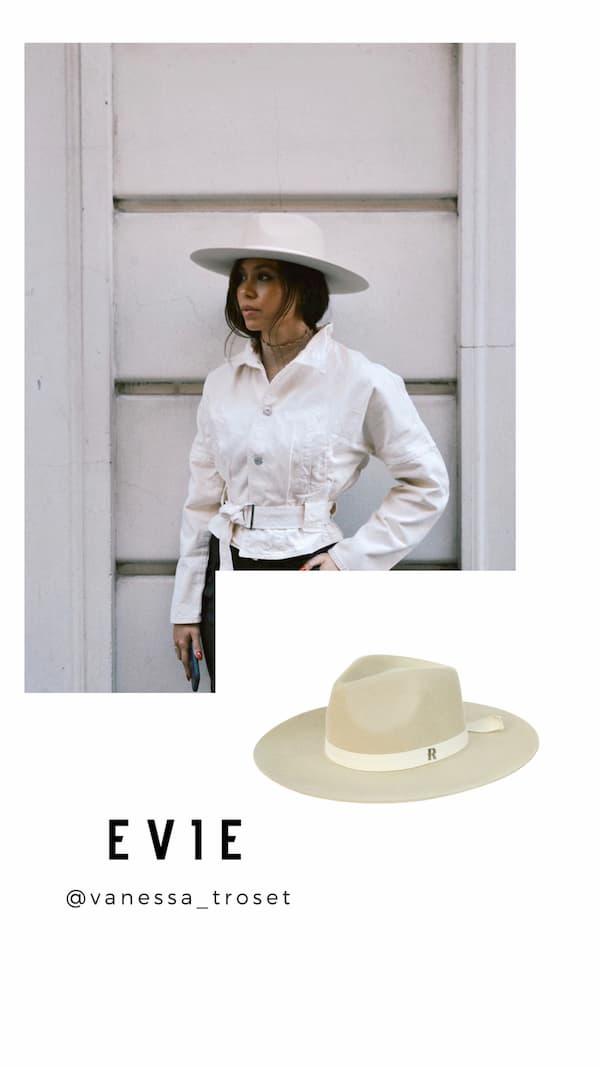 Sombrero Fedora Evie Crema de Ala Ancha